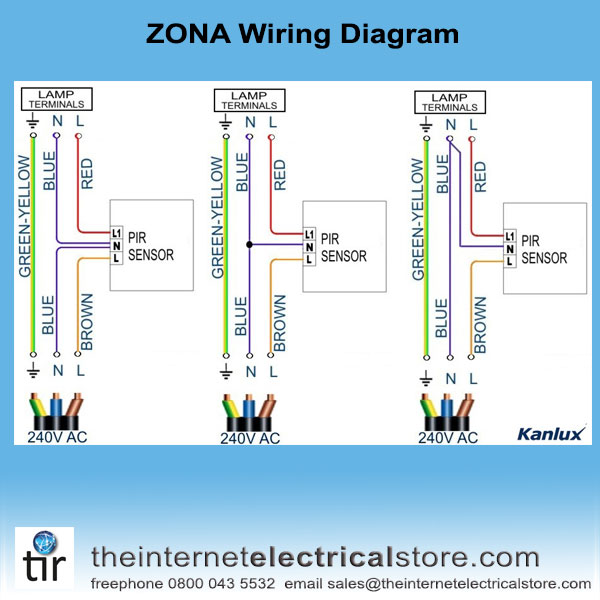 Uk Wiring Diagram For Outside Light With Pir : Kanlux zona jq w ip pir ceiling motion sensor